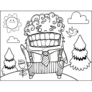 Smiling Man in Suit coloring page