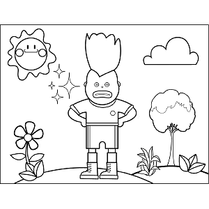 Soccer Boy Wild Hair coloring page