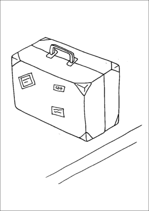 Sticker Covered Suitcase coloring page