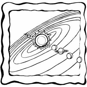 3D Solar System coloring page