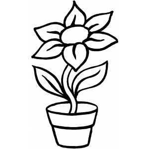 Flower In Pot Coloring Page