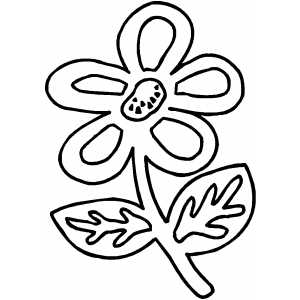 Flower With Two Leaves coloring page