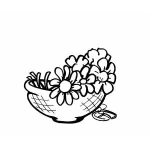 Flowers In Wood Pot coloring page