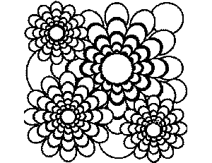 Flowers and Circles coloring page