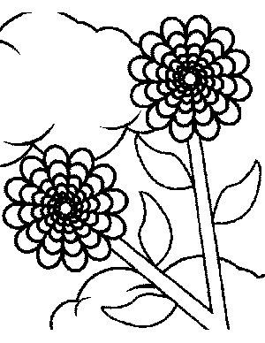 Flowers and Clouds Coloring Page