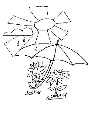 Flowers with Umbrella Coloring Page
