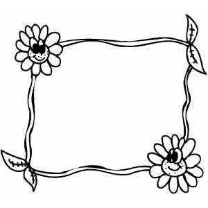 Smiling Flowers Frame coloring page