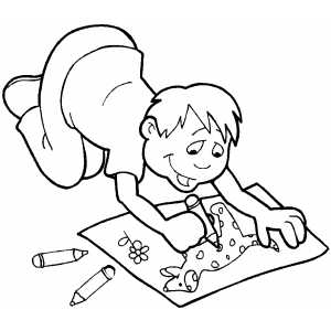 Boy Drawing With Crayons Coloring Page