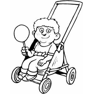 Boy In Stroller With Candy coloring page