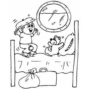 Boy Jumping To Bed coloring page