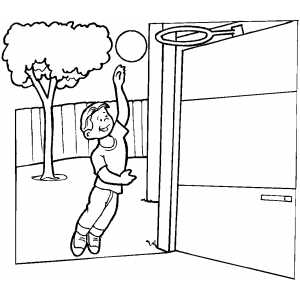 Boy Playing Basketball In Yard coloring page