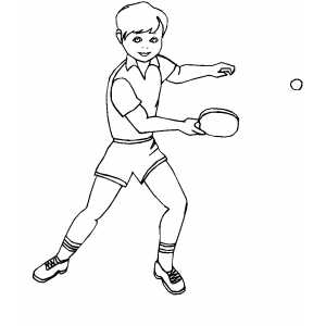 Boy Playing Ping Pong coloring page