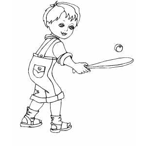 Boy Playing Stickball coloring page