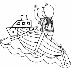 Boy Rowing To The Ship coloring page