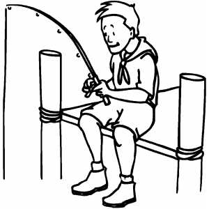 Boy Scout Fishing Coloring Page