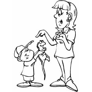 Boy Showing To Mom Lizard coloring page