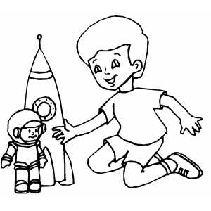 Boy with Rocketship coloring page