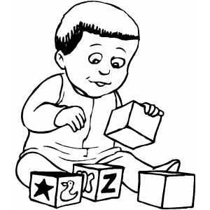 Child Playing With Blocks coloring page