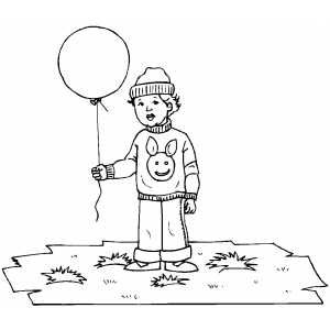 Child With Balloon coloring page