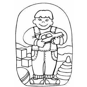 Child With Toy Car coloring page