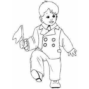 Dancing Boy With Flag coloring page
