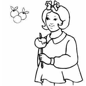 Girl Eating Apple On Stick coloring page