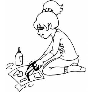 Girl Making Collage coloring page
