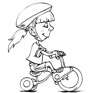 Girl On Tricycle coloring page