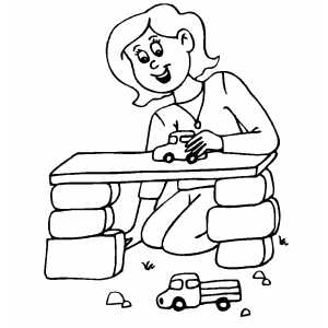 Girl Playing With Cars coloring page