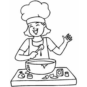 Happy Cooking Girl Coloring Page
