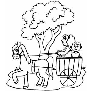 Kids In Wagon coloring page