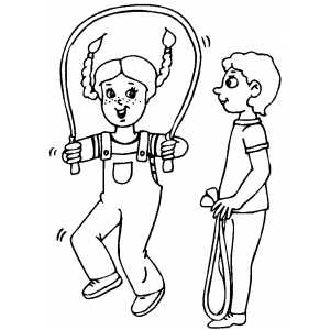 Kids Jumping Rope coloring page