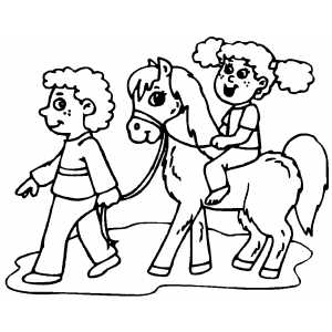 Kids On Pony coloring page