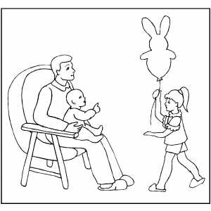 Rabbit Balloon coloring page