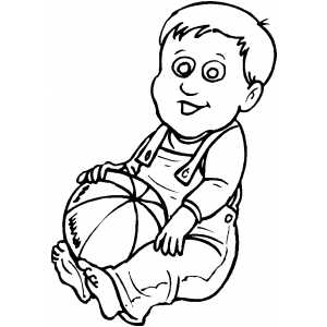 Sitting Boy With Ball coloring page