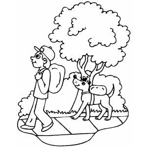 Walking Boy And His Dog coloring page