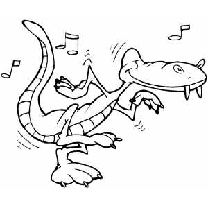 Alligator Rock And Roll coloring page