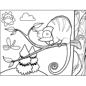 Chameleon in Tree coloring page