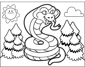 Coiled Cobra coloring page