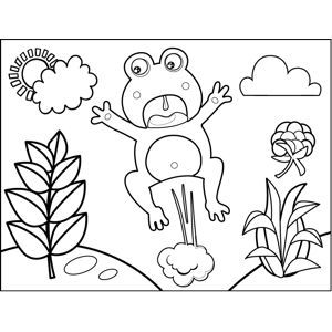 Frightened Leaping Frog coloring page