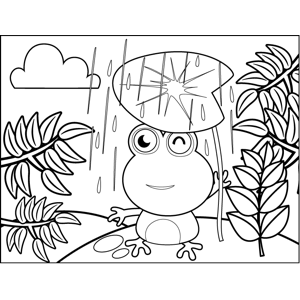 Frog in Rain Under Lily Pad coloring page