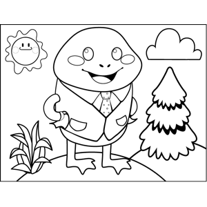 Frog in Suit coloring page