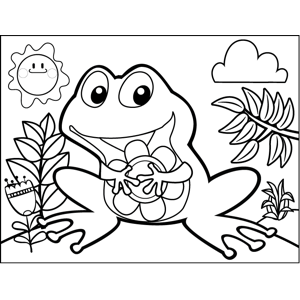 Happy Frog with Flower coloring page