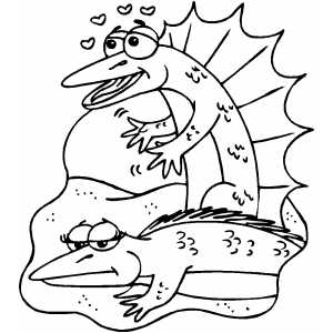 Lizards In Love coloring page