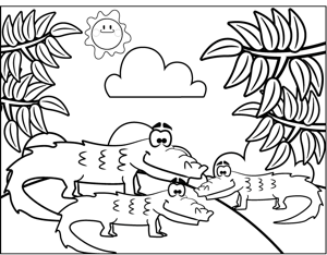 Three Crocodiles coloring page