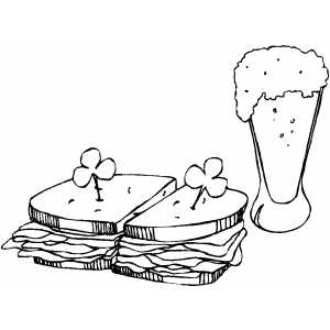 Green Beer And Sandwich coloring page