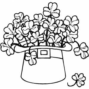 Hat And Shamrocks coloring page
