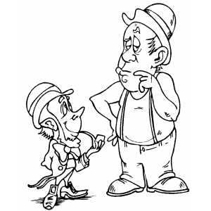 Leprechaun And Man coloring page
