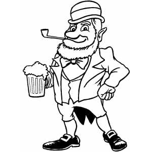 Leprechaun With Beer coloring page