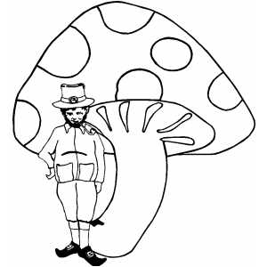 Leprechaun With Big Mushroom coloring page